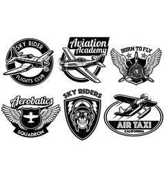Aviation badge set vector