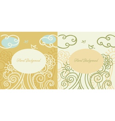 cartoon floral backgrounds vector image vector image