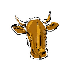 Colored hand drawn cow of a cow vector image