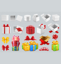 gift boxes with bows 3d set of icons vector image vector image