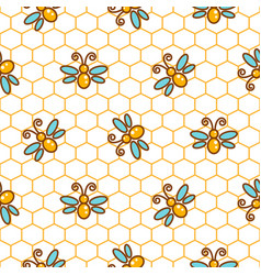honeycomb pattern and bees line background vector image vector image