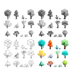 Low poly trees rocks grass icons set flat design vector