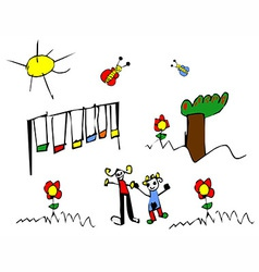 Spring time Child drawing vector image
