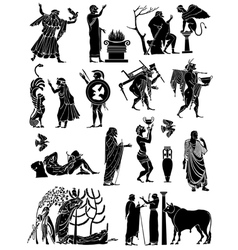 Big collection of silhouettes of Greeks vector image vector image