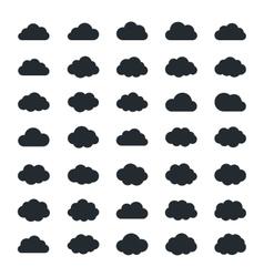Big set of thirty-five black cloud shapes vector image vector image