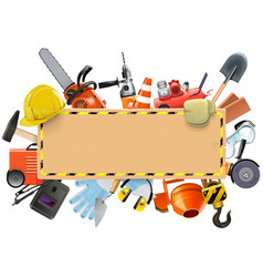 Construction Board with Tools vector image vector image