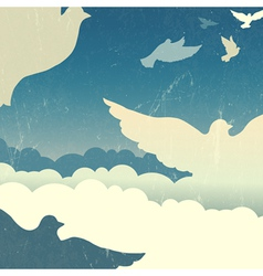 dove in sky retro poster vector image vector image