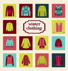 set of winter fashion clothing collection vector image vector image
