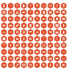 100 meat icons hexagon orange vector