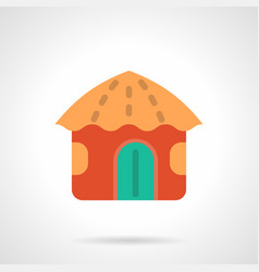 red beach hut flat color icon vector image