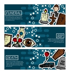 Set of Horizontal Banners about funeral vector image vector image