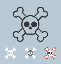 skull icons set vector image