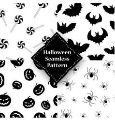 spider pumpkin spider and bat seamless pattern vector image