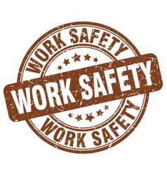 Work safety brown grunge stamp vector