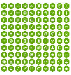 100 sushi bar icons hexagon green vector
