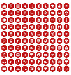 100 t-shirt icons hexagon red vector