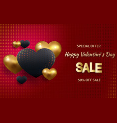 3d metallic gold and red hearts on a bright red vector image