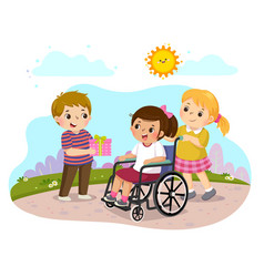 A boy giving a present to a little disabled girl vector