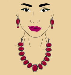 A girl in jewels necklace and earrings vector
