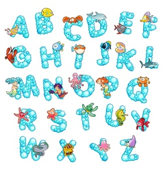 Alphabet with fish and bubbles vector