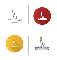 Ashtray with stubbed out cigarette icon vector