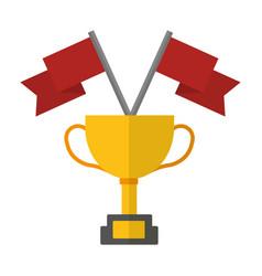 award trophy flags win vector image