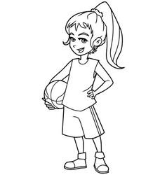 Basketball girl line art vector