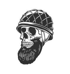 bearded soldier skull in army helmet design vector image