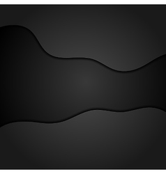 Black concept wavy abstract background vector image