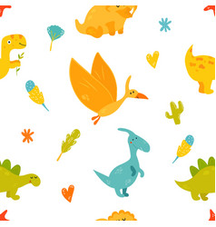 Bright seamless pattern with cute dinosaurs vector