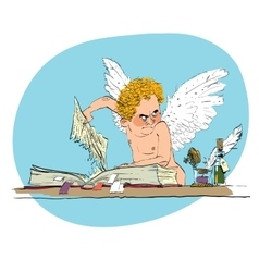 Bully angel pulls out the book page vector