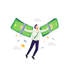businessman flying on money wings vector image