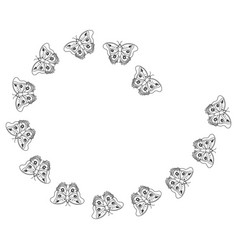 Butterfly arranged flying animal decoration vector