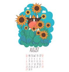 calendar for august 2021 cute bull vector image