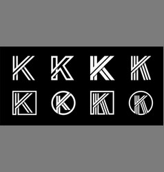 Capital letter k modern set for monograms logos vector