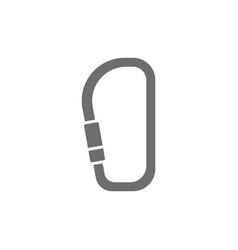 Carabiner climbing equipment grey icon isolated vector