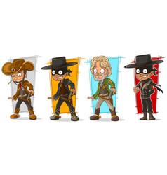 Cartoon sheriff and cowboy character set vector