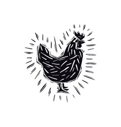 chicken in linocut style vector image