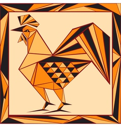Chinese horoscope stylized stained glass rooster vector image