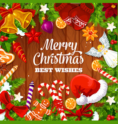 christmas greeting card wishes and gifts design vector image