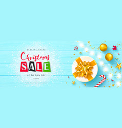 christmas sale banner holiday background with vector image