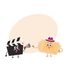 cinema production clapperboard movie ticket vector image