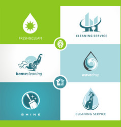 cleaning service icons signs logo vector image