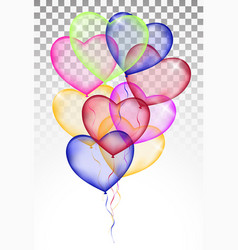 colored heart balloons isolated on white vector image