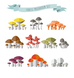 colorful flat design style forest mushroo vector image