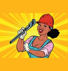 Construction worker with adjustable wrench woman vector