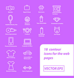 Contour icons for online store site vector