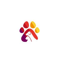 Creative pet paw logo design symbol vector