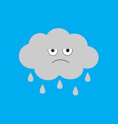 cute cartoon kawaii cloud with rain drops sad vector image