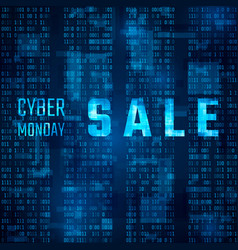 cyber monday sale promo on blue binary code vector image